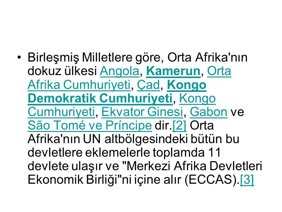Birleşmiş Milletlere göre, Orta Afrika nın dokuz ülkesi Angola, Kamerun, Orta Afrika Cumhuriyeti, Çad, Kongo Demokratik Cumhuriyeti, Kongo Cumhuriyeti, Ekvator Ginesi, Gabon ve São Tomé ve Príncipe dir.[2] Orta Afrika nın UN altbölgesindeki bütün bu devletlere eklemelerle toplamda 11 devlete ulaşır ve Merkezi Afrika Devletleri Ekonomik Birliği ni içine alır (ECCAS).[3]